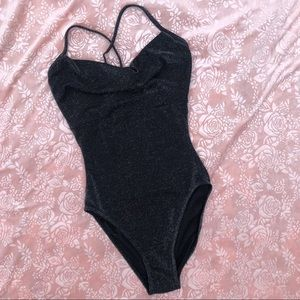 Vintage High Cut Thigh Shiny Silver One Piece 6 S